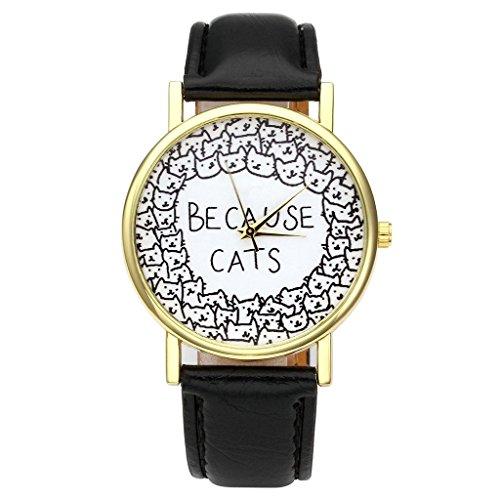 JSDDE Uhren, Damenmode Lieblich Katze Armbanduhr PU Lederband Damenuhr 'BECAUSE CATS' Analog Quarzuhr,Schwarz