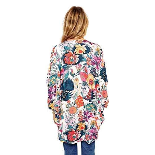 Imagen de cardigans mujer kimono 2019 nuevo shobdw pareos casual gasa cover up bikini playa de verano cardigans mujer flores suelto sexy camisa de protección solar, 3xl alternativa