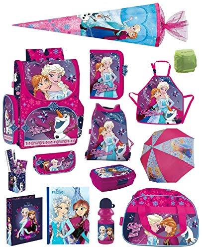 Disney die Eiskönigin Schulranzen-Set 19tlg. Sporttasche Regenschutz Schultüte 85cm Frozen PL pink