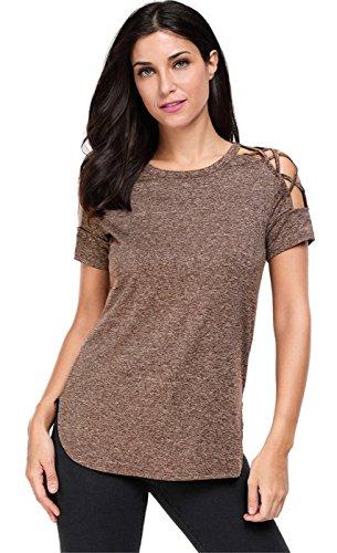 Sexy Manches Courtes Criss Cross Strap Bretelles Ajourée Lacé Lacets Laçage Shoulder Ourlet Incurvé T-Shirt Tee Haut Top Café