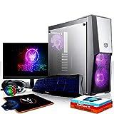 Fierce Avenger RGB Gaming PC Bundeln - Schnell 6 x 4.3GHz Hex-Core Intel Core i5 8600, Aftermarket Tower Kühler, 480GB Solid State Drive, 16GB von 2666MHz DDR4 RAM / Speicher, NVIDIA GeForce RTX 2080 8GB, ASUS TUF H310M-PLUS GAMING Hauptplatine, Cooler Master MasterBox MB500 RGB Computergehäuse, HDMI, USB3, Wi - Fi, VR Bereit, 4K Bereit, Perfekt für High-End-Spiele, Windows 10 installiert, Tastatur (QWERTZ), Maus, 24-Zoll-Monitor, Headset, 3 Jahre Garantie 1089244