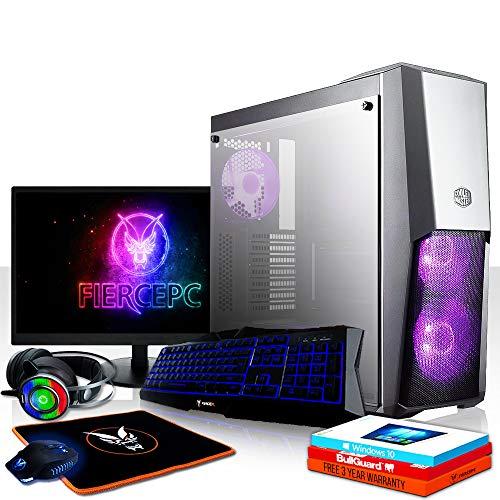 Fierce Raptor RGB Gaming PC Bundeln: 4.8GHz 6-Core Intel Core i5 8600K, 1TB SSHD, 16GB, GTX 1050 Ti 4GB, Win 10, Tastatur (QWERTZ), Maus, 24-Zoll-Monitor, Headset 1040824
