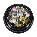 10 pietre di strass di arte del chiodo di stile messe per le decorazioni di arte del chiodo, perline di chiodo cristalli di scintillio decorazione di unghie di strass con 1 pezzo di strass picker