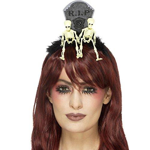 Amakando Skelett Diadem Friedhof Gothic Kopfschmuck RIP Tag der Toten Haarreif Sugar Skull Haarschmuck Kostüm Accessoire Damen Halloween Tiara ()