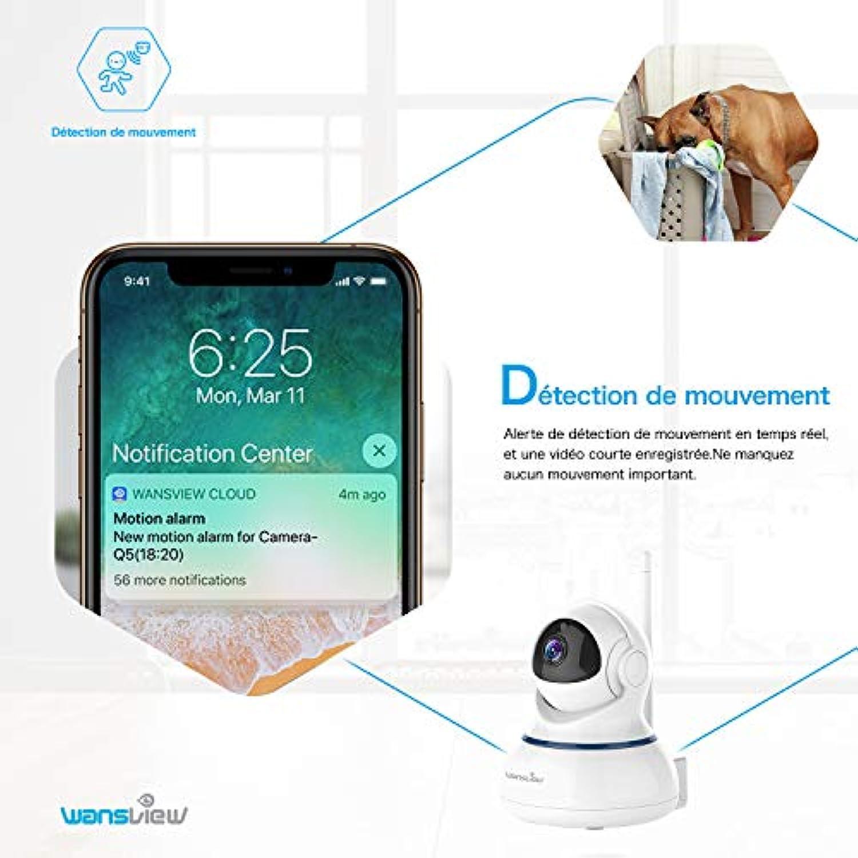 Wansview Caméra de Surveillance WiFi, FHD 1080P Cloud Caméra IP sans Fil  avec Détection de Mouvement, Vision Nocturne, Audio Bidirectionnel, PTZ Q3s