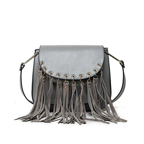 Le Donne / Signore Della Nappa Modo Raffredda Oblique Trend Spalla Borse Del Sacchetto Grey