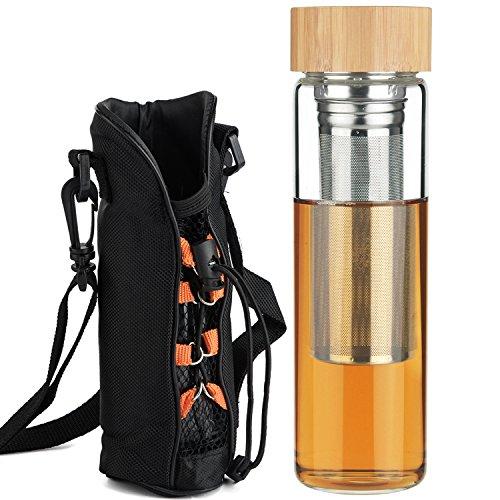 Ferexer Tee Filter Teeflasche Trinkflasche Glas Trinkglas Wasser Flasche Teebereiter mit 2 Ärmel 500 ml