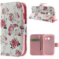 Flip Case Business Case Handytasche Etui Cover Samsung Galaxy Ace Style / SM-G310 - STAND BOOK Blumen Ständer mit Kreditkartenfach Blumenmuster