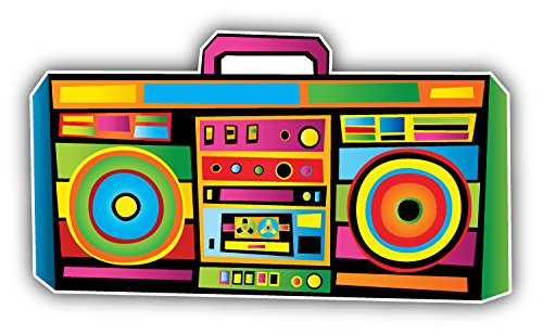 Funny Colorful Boom Box Music Art Decor Vinyl Sticker Pegatina 12 x 8 cm