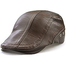 Roffatide Engranaje Costura Cuero de la PU Ajustable Plano Gorra Sombrero  de Boina Golf Chapelas 6866a976c35