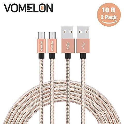Câble Micro USB, 2Pack 10FT Nylon Tressé - Câble de chargement rapide pour Samsung, Nexus, LG, Motorola, Smartphones Android et plus