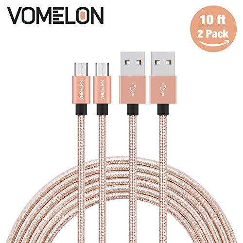 Micro USB Kabel, 2Pack 10FT Nylon geflochten Tangle-Free High Speed Ladekabel für Samsung, Nexus, LG, Motorola, Android Smartphones und vieles mehr
