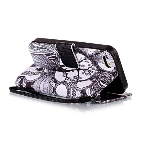 CaseHome iPhone 5S/5/iPhone SE PU Leder Hülle Mode der eleganten Fall Schön Geprägte Muster Gedruckt Entwurf (Mit freiem HD Schirm-Schutz) Tadellos gepasst für iPhone 5S/5/iPhone SE PU Leder Hülle Mag Schwarz und weiß Baum