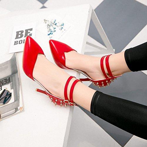 Mee Shoes Damen Stiletto ankle strap mit Nieten Sandalen Rot