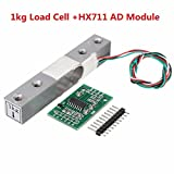 #10: Alcoa Prime Silver & White Aluminum Alloy High Precision Weighing Sensor Load Cell+HX711 AD Moulde Durable Quality 80x13x13mm