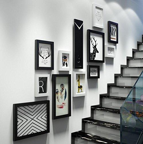 WFH Multi Picture Bilderrahmen Wand-Set 11 Stück 119Cm X 106Cm Home Deko Collage, Treppe Fotowand,A - Bilderrahmen Collage Wand