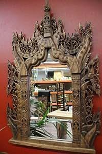 Miroir en bois sculpté en bois - 140 x 80 x 7–bois massif-grand verre miroir