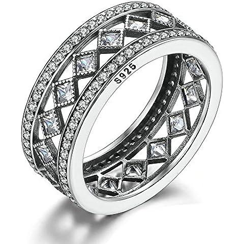 EMOSAN La fascinación europea moda Vintage, CZ clara original de 925 anillos de plata esterlina (58#)