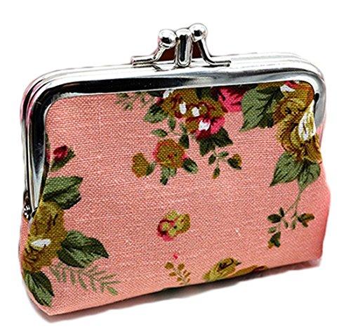 Isuperb®-Custodia a borsetta in tela, motivo Rose-carte da regalo ciondoli, chiusura a portafoglio, Tessuto, Rosa, 12x9cm