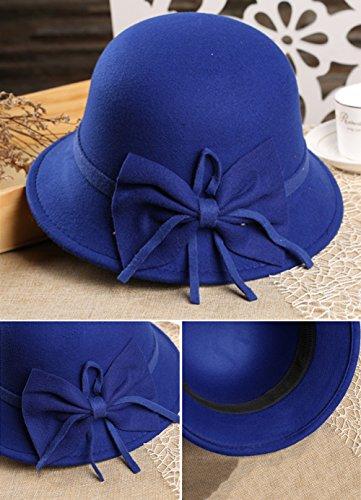 Sitong femmes mignon arc soleil chapeau ¨¤ large bord bonnet laine bassin bleu marin