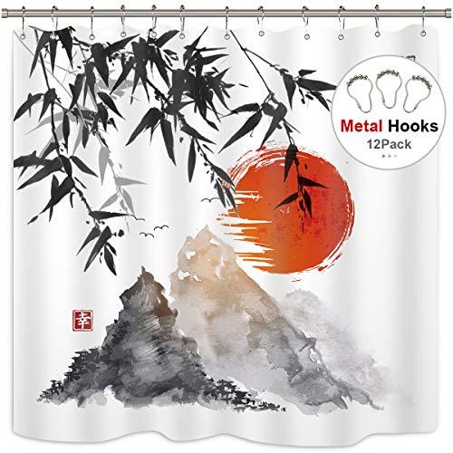 Bambus-panel (Cdcurtain Rot Sunset Chinesische Malerei Stil Duschvorhang Set Chinesische Charakter Bambus Mountain Dusche Vorhang Panel 198,1x 182,9cm mit 12Stück Metall Duschvorhang Haken)