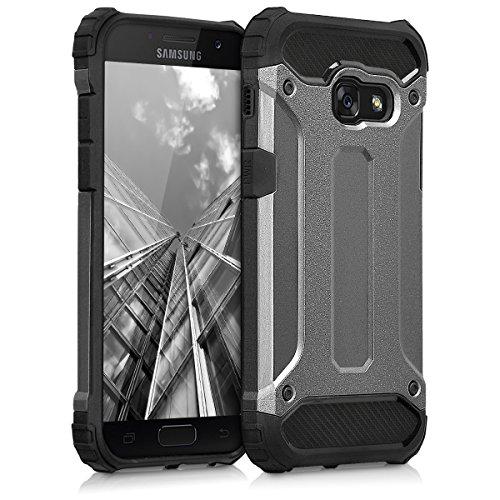 kwmobile Hybrid Outdoor Hülle für > Samsung Galaxy A3 (2017) < mit Transformer Design - Dual TPU Silikon Hard Case Handy Hard Cover in Anthrazit Schwarz