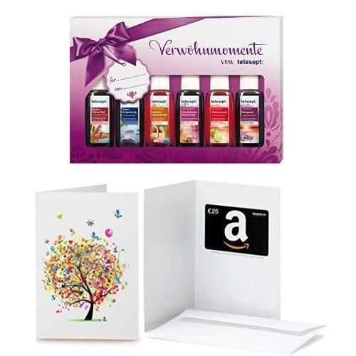 Amazon.de Grußkarte mit Geschenkgutschein - 25 EUR + Tetesept Bäder Geschenkset Verwöhnmomente