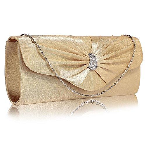 TrendStar Frau Kupplungs Taschen Damen glitzerndes Kristall Satin Abend Partei Hochzeit Handtaschen Nude