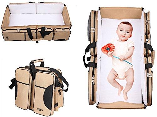 Este producto contiene 3en 1; cambiador, cuna de viaje y bolsa con asas, es portátil, multifuncional, color beis, de Boyovo
