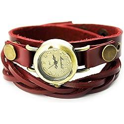 Armbanduhren Quarz Analog Arabisch Ziffern Leder Modeschmuck Uhr Damen rund Geflecht Moli 5 Rot Geschenk Damen