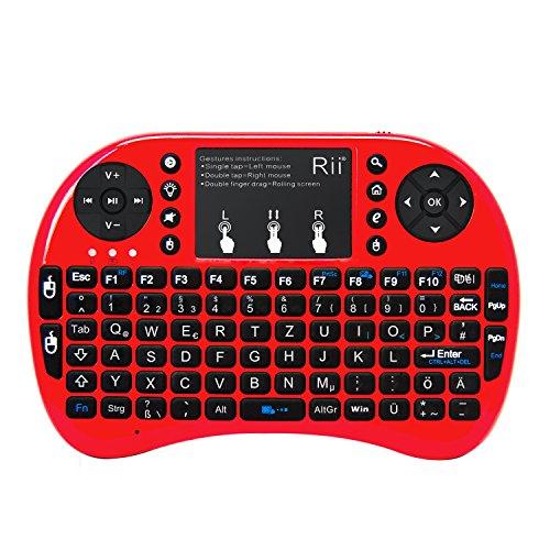 Rii i8+ Rot 2.4GHz Mini Wireless Tastatur und Touchpad-Maus,LED Hintergrundbeleuchtung, Eingebaute Wiederaufladbare Li-ion Batterie und Komfort Deckel für Smart TV, Raspberry Pi,Mini PC, HTPC, Computer und Konsolenspiele MacOS,Linux, Android,XBMC,Windows 2000 XP Vista 7 8 (Rii i8+ Rot mit LED Hintergrundbeleuchtung)