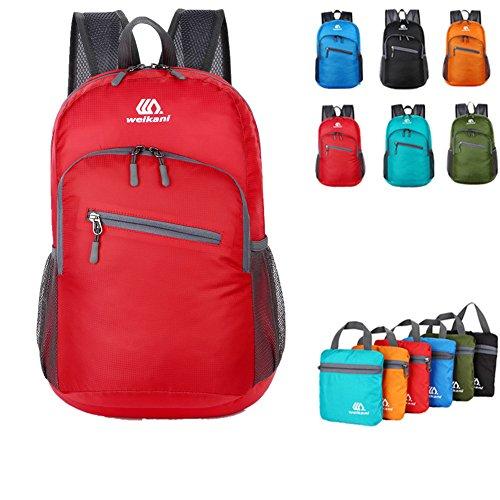 Verstaubarer Tagesrucksack, 18L leichter faltbarer Rucksack Tasche für Damen und Herren Outdoor Sport Camping Wandern Radfahren Reisen und täglichen Gebrauch in der Schule (Rot)