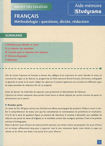 Français : Méthodologie : questions, dictée, rédaction