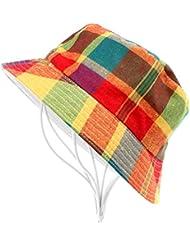 VANKER 1X Estilo unisex de los niños del sombrero del cubo algodón ocasional de la tela escocesa del verano del casquillo del sombrero de Sun Beach (colores)