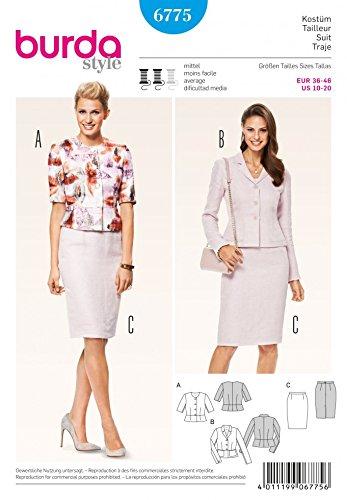 Burda Damen Schnittmuster 6775–Jacke Kurz geschnitten und Bleistift Rock Anzug (Perfekte Bleistift-rock)