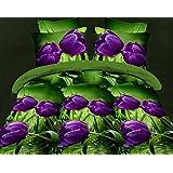 200x220 3D Bettwäsche 4tlg Bettwäscheset Blumen-Motiv Bettbezüge Microfaser Bettwäschegarnituren FSH 394