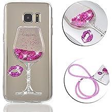 Funda Samsung Galaxy S6 Edge Plus, Vandot Funda Quicksand Flowing Liquido para Galaxy S6 Edge Plus,3D Diseño Creativo Vaso de Vino Bling Arena Movediza Pintura de Lujo que Fluye Líquido Flotante del Brillo de Cristal Rojo de Labios Tacones Altos Borrar Volver Transparente Silicona TPU Funda para Smartphone Samsung Galaxy S6 Edge Plus (S6 Edge+) - Color Rosa Rosado