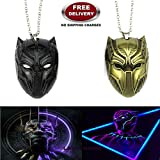(2 Pc AVENGERS SET) BLACK PANTHER TRENDY GOLD COLOUR & BLACK COLOUR IMPORTED METAL PENDANTS WITH CHAIN. LADY HAWK DESIGNER SERIES 2018. ❤ ALSO CHECK FOR LATEST ARRIVALS - NOW ON SALE IN AMAZON - RINGS - KEYCHAINS - NECKLACE - BRACELET & T S