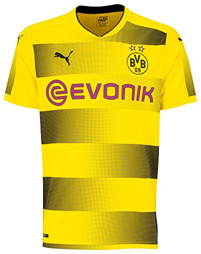 Herren Fußball Replica Trikot (PUMA Erwachsene BVB Home Replica with Sponsor Logo Shirt, Cyber Yellow Black, L)