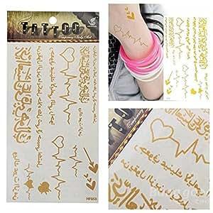 [Envoi Gratuit] arabes or métalliques temporaires tatouages Body Art Sticker // Arabic Gold Metallic Temporary Tattoos Body Art Sticker