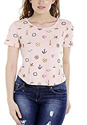 Spykar Womens Viscose Pink Regular Fit Tshirts (Small)