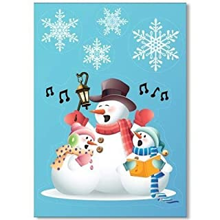 Singing Snowmen Window Cling with 32 Elegant Snowflake Window Stickers - Quick & Simple Christmas Decorations - Glueless Vinyl Stickers