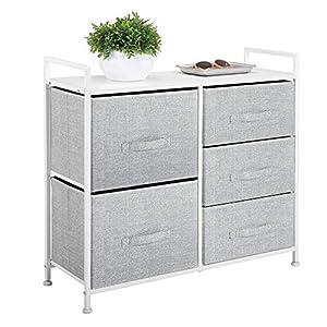 mDesign Kommode aus Stoff - schmaler Schrank Organizer mit 5 Schubladen - praktisches Aufbewahrungssystem für Schlafzimmer, Schlafsaal und kleine Wohnräume - grau