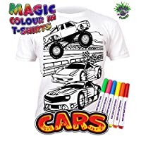 Splat Planet Colour-in Cars T-Shirt with 6 Non-Toxic Washable Magic Pens - Colour-in and Wash Out T-Shirt