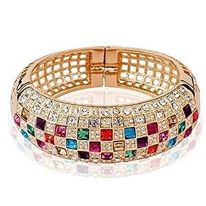 Yellow Chimes Luxury Princess Swiss Zircons 18K Rose Gold Plated Bangle Bracelet for Women & Girls
