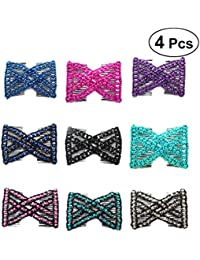 Frcolor Hairpins Stretchy Fashion Variety Magic Hair Combs Clips Hair Accessories for Women Girls (Random Color) 4pcs