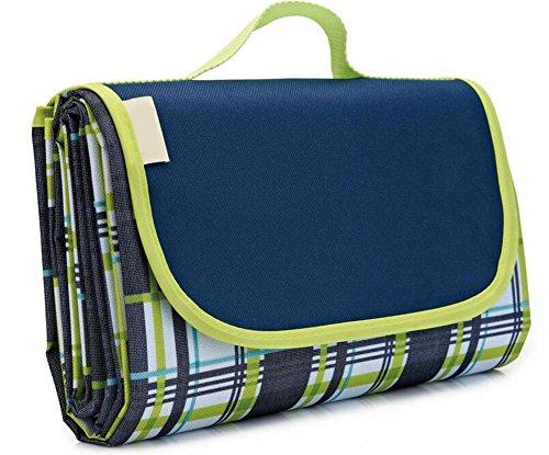 Deerbird® Picknickdecke im Freien, Wasserbeständig und Sandfest Tragbare Strandmatten Faltende Picknickdecke, Baby Krabbeldecke/Kinder Spielmatte - Blau Karo (Teile Waschmaschine Tragbare)