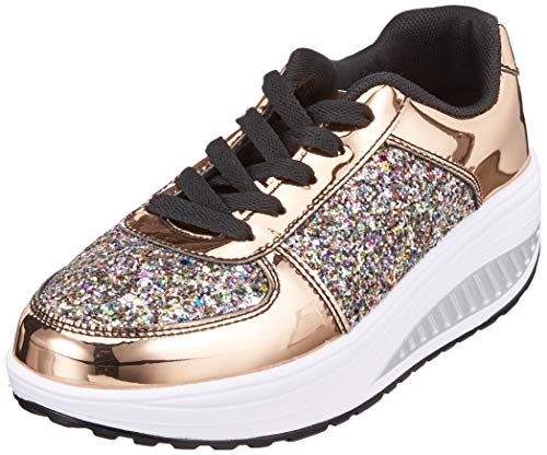 QZBAOSHU Donne Sneaker Dimagrante Scarpe Passeggio & Scarpe Ginnastica Fitness Cunei Piattaforma Scarpe 37 EU 3-Oro