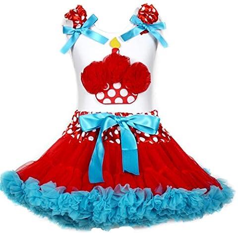 Cupcake pour anniversaire robe pour femme Blanc à pois Rouge/bleu jupe fille Vêtements 1–8Y - blanc - Large