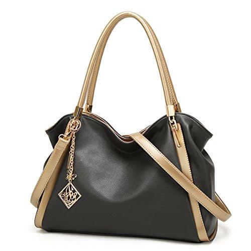 Borsetta donna moda borsa da donna a spalla borsa Messenger, nero Grigio